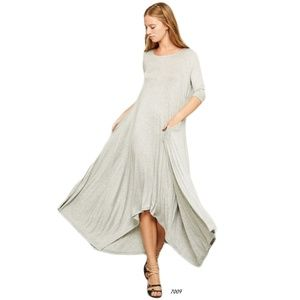 Gray Drape Asymmetrical Handkerchief Hem Dress